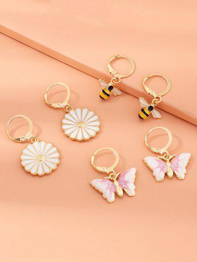 3 Pairs Butterfly Daisy Bee Drop Earrings - Golden