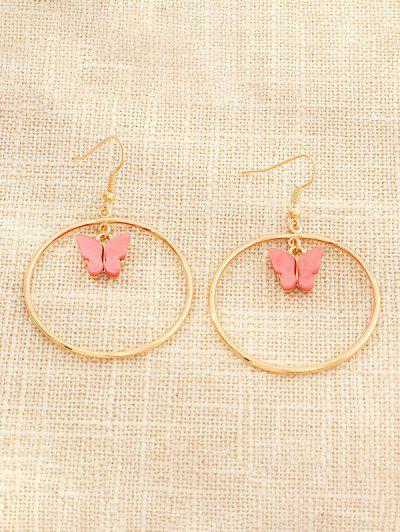 Butterfly Pendant Circular Earrings - Watermelon Pink