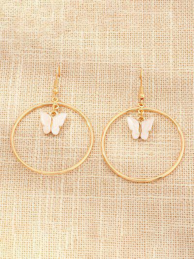 Butterfly Pendant Circular Earrings - White