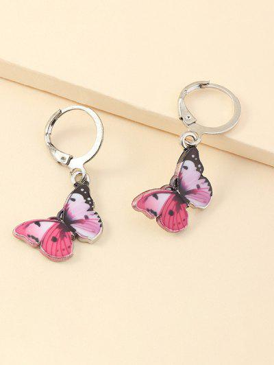 Butterfly Shape Small Hoop Earrings - Hot Pink