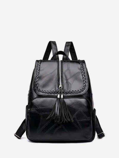Tassel Quilted Braid Design Backpack - Black