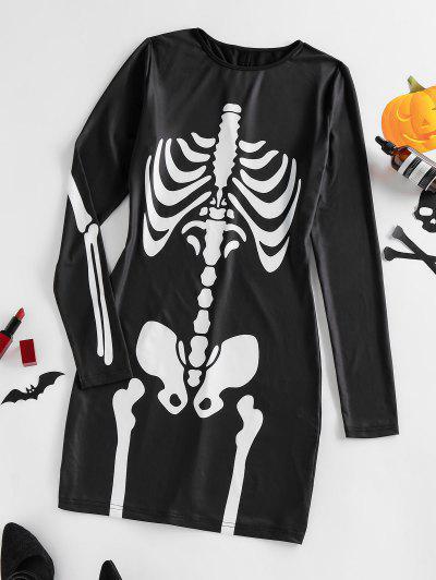 ZAFUL Long Sleeve Halloween Skeleton Bodycon Dress - Black S