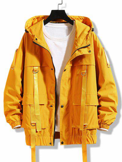 Hooded D-ring Strap Cargo Jacket - Rubber Ducky Yellow M