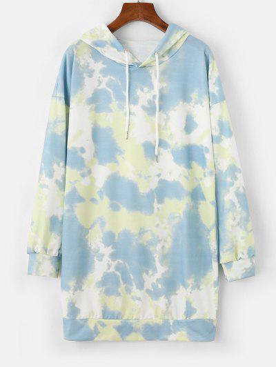 Casual Tie Dye Drawstring Hoodie Dress - Multi-a M