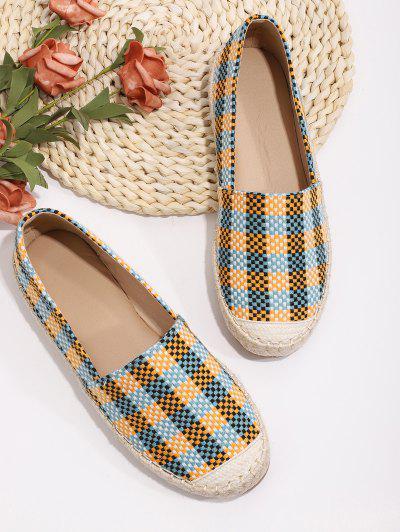 Plaid Pattern Colorblock Flat Shoes - Multi-a Eu 40