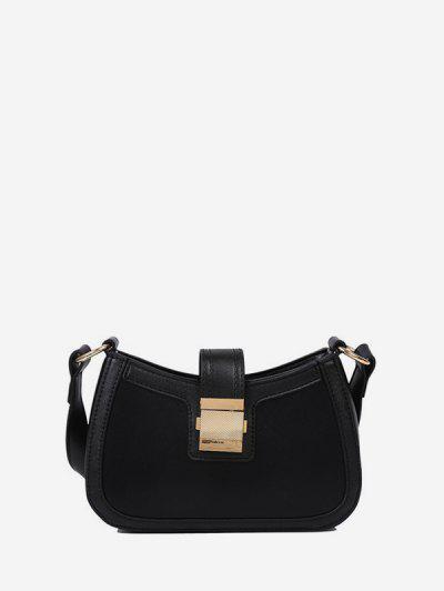 Brief Hasp Shoulder Bag - Black