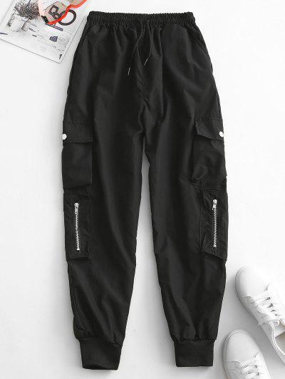 Zippered Pockets Drawstring Cargo Pants - Black S