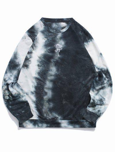 ZAFUL Rose Embroidery Tie Dye Print Sweatshirt - Slate Blue 2xl