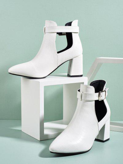 Cut Out Buckle Strap Boots - White Eu 40