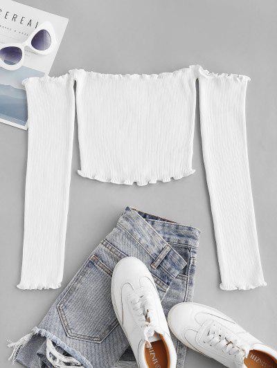 Ribbed Lettuce Trim Off Shoulder Knitwear - Milk White S