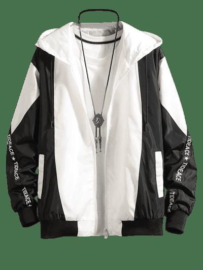 Hooded Letter Tape Contrast Jacket