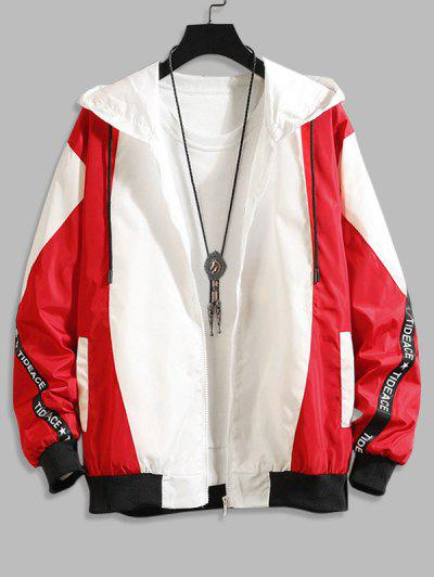 Hooded Letter Tape Contrast Jacket - Red 2xl