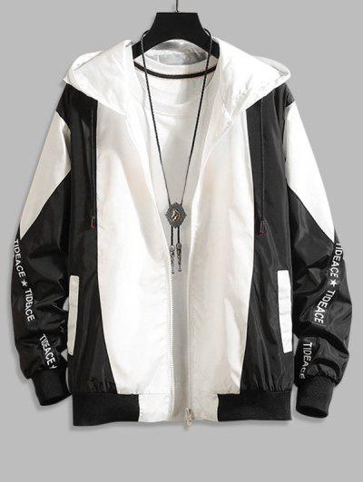 Hooded Letter Tape Contrast Jacket - Black M