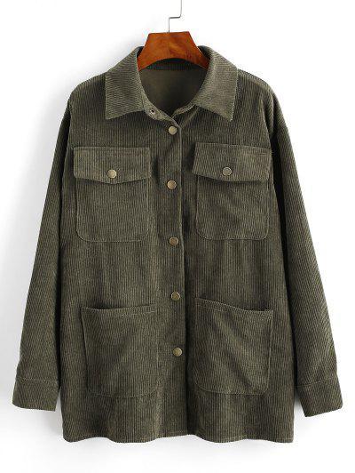 Corduroy Snap Button Cargo Shirt Jacket - Deep Green M