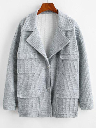 ZAFUL Snap Button Lapel Textured Cargo Jacket - Light Gray M