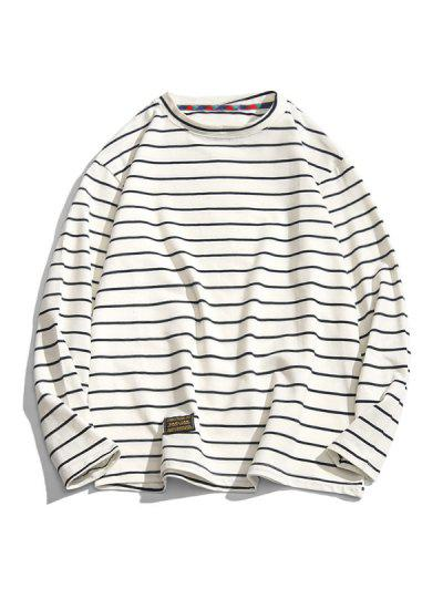 Long Sleeve Stripes Letter Patched T-shirt - White M