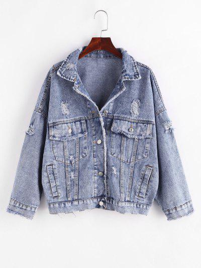 Button Up Frayed Distressed Denim Jacket - Blue S