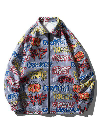 Halloween Letter Graphic Print Pocket Jacket - Gray Xl