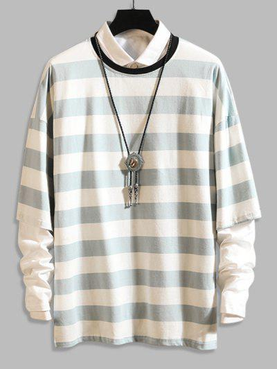 Long Sleeve Stripes Camo T-shirt - Light Blue 3xl