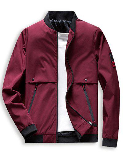 Zip Up Pocket Casual Jacket - Red Wine Xl