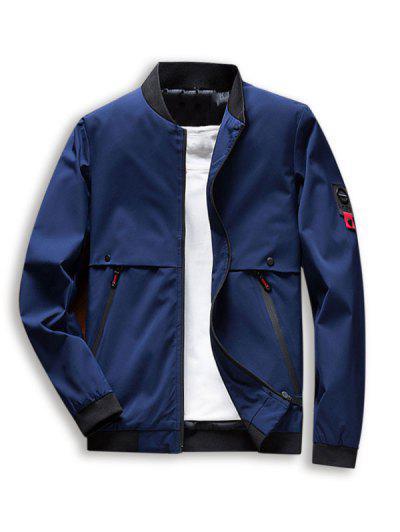 Zip Up Pocket Casual Jacket - Deep Blue Xl