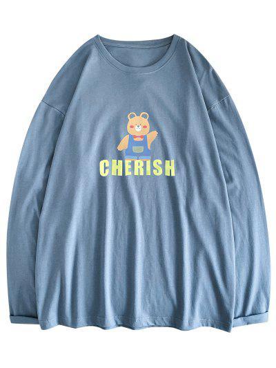 Bear Cherish Pattern Long Sleeve T-shirt - Blue Koi L
