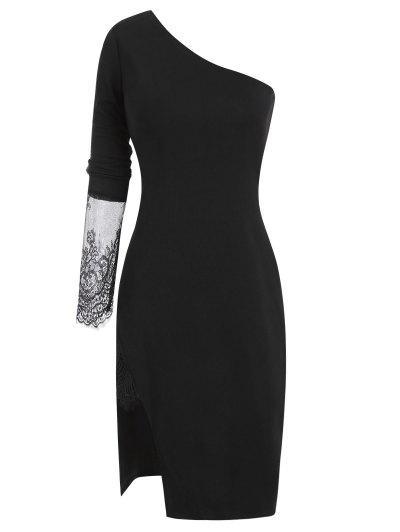Lace Insert Side Slit One Shoulder Dress - Black L