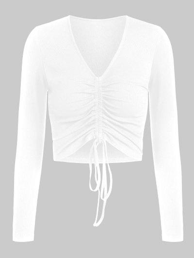 ZAFUL Ribbed Cinched Fitted Plunging T-shirt - White M