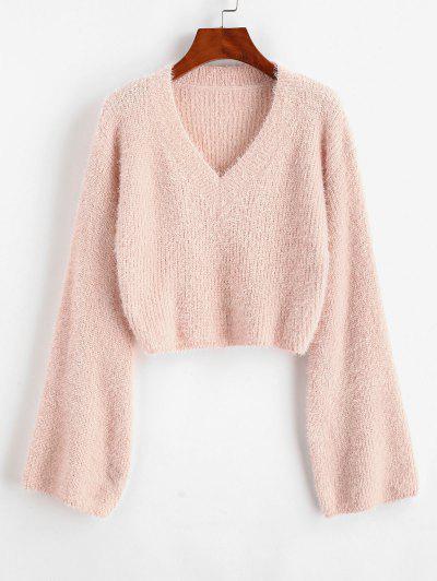 ZAFUL V Neck Cropped Fuzzy Sweater - Light Pink