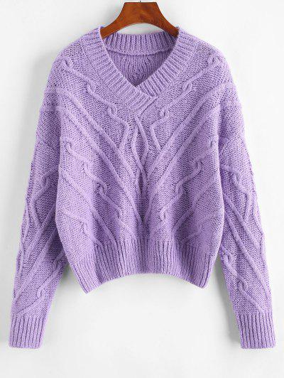 Chunky Cable Knit Sweater - Purple