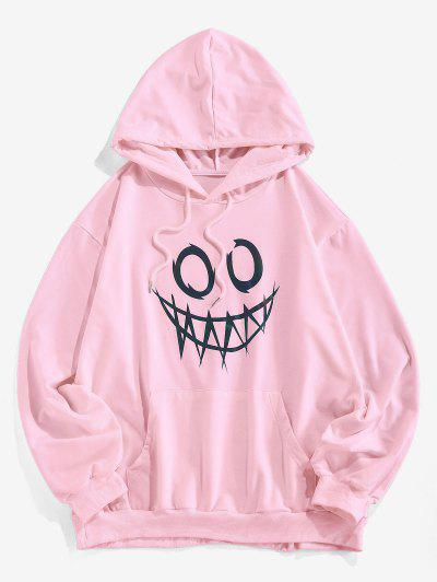 ZAFUL Luminous Cartoon Print Kangaroo Pocket Hoodie - Light Pink S