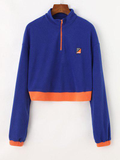 Half Zip Colorblock Fleece Crop Sweatshirt - Blue M