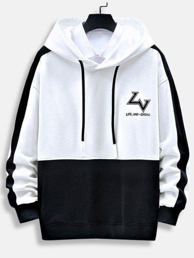 Letter Print Graphic Embroidered Contrast Hoodie - White 3xl