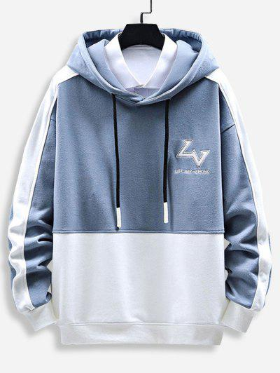 Letter Print Graphic Embroidered Contrast Hoodie - Light Blue Xl
