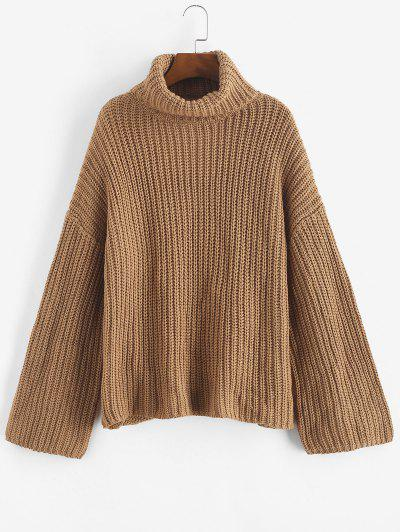 Turtleneck Wrap Back Chunky Drop Shoulder Sweater - Coffee