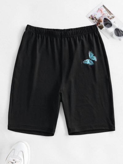 ZAFUL High Waisted Butterfly Print Biker Shorts - Black S