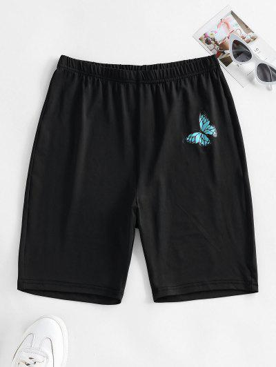 ZAFUL High Waisted Butterfly Print Biker Shorts - Black M