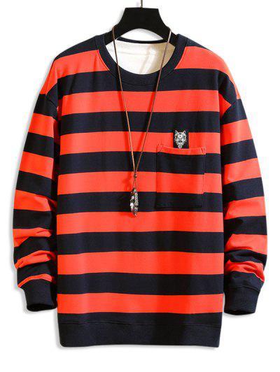 Cat Applique Striped Pocket Sweatshirt - Red S