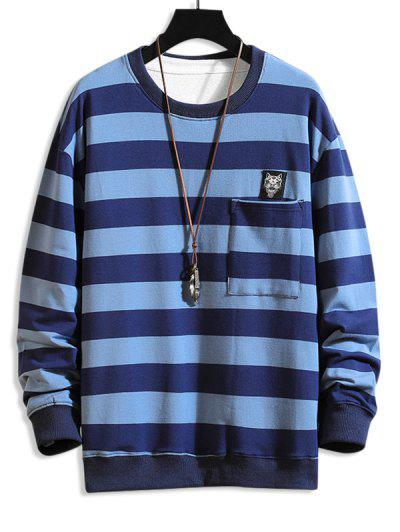 Cat Applique Striped Pocket Sweatshirt - Blue M