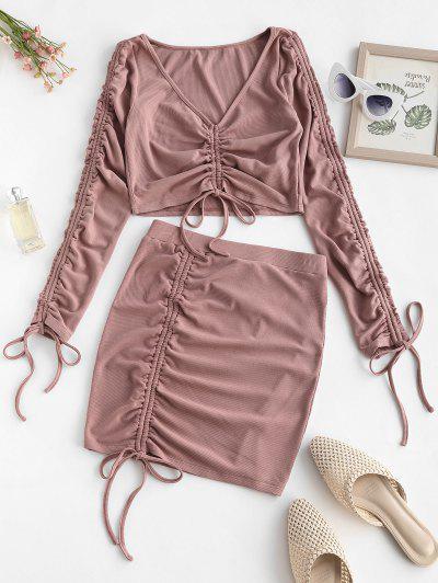 ZAFUL Ribbed Cinched Two Piece Mini Dress - Khaki Rose Xl