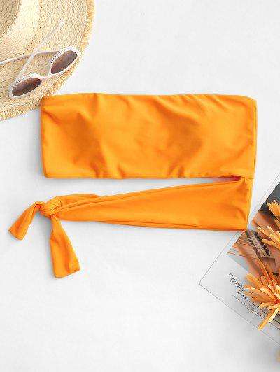 ZAFUL Knotted Cut Out Bandeau Bikini Top - Dark Orange M