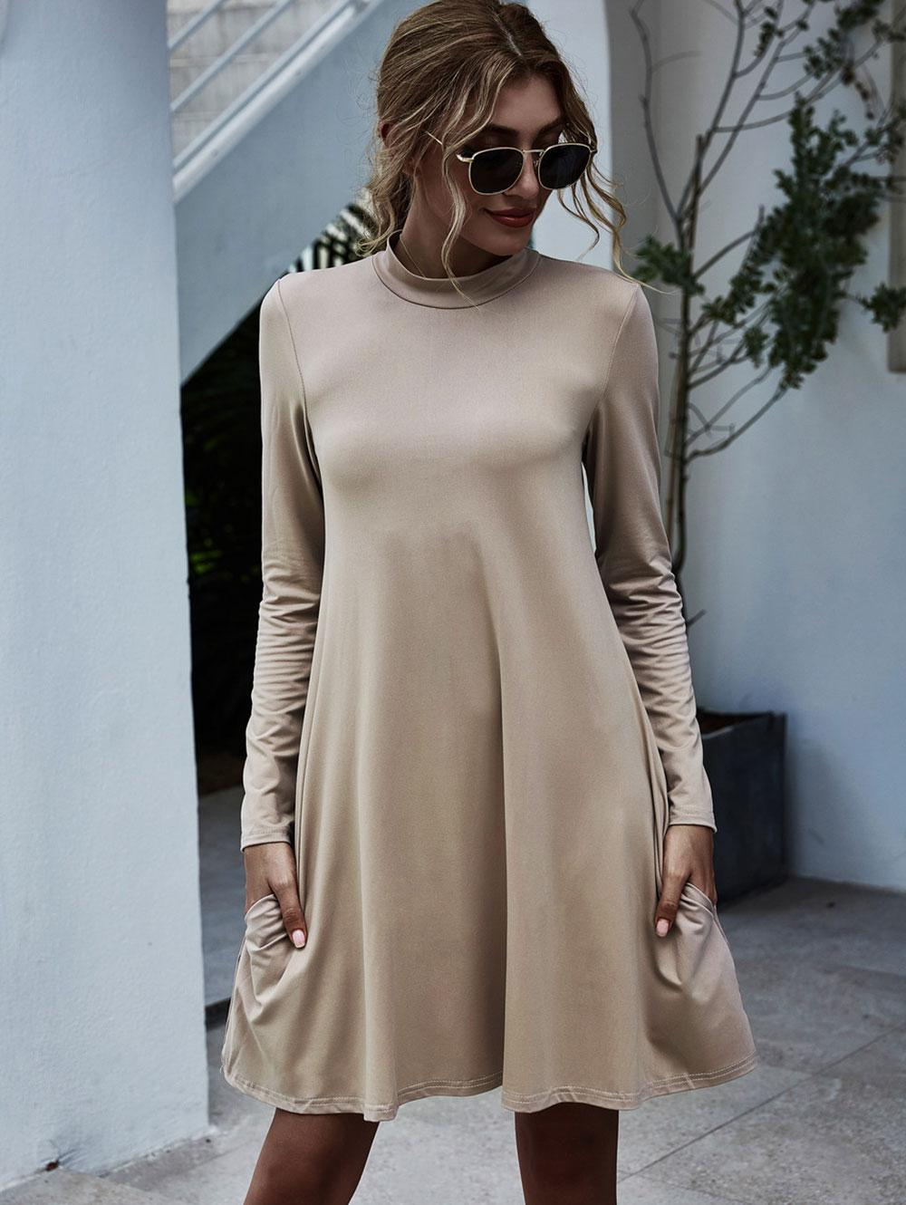 Mock Neck Side Pocket Trapeze Dress