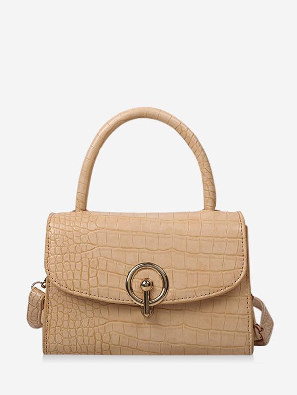 Textured Hasp Cover Rectangle Handbag