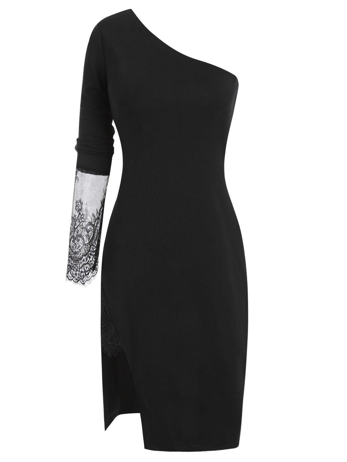 Lace Insert Side Slit One Shoulder Dress