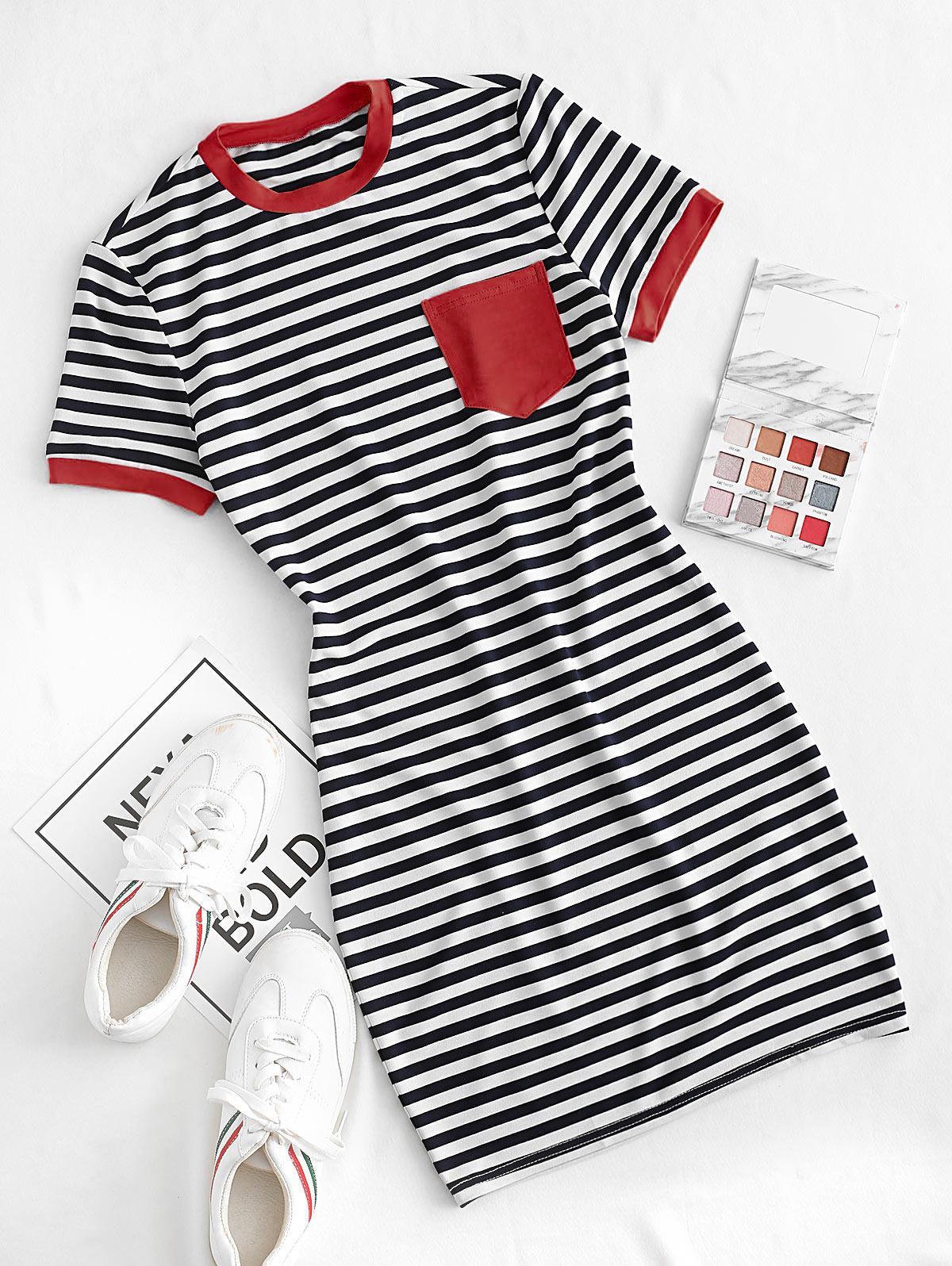 ZAFUL Striped Pocket Bodycon Mini Dress