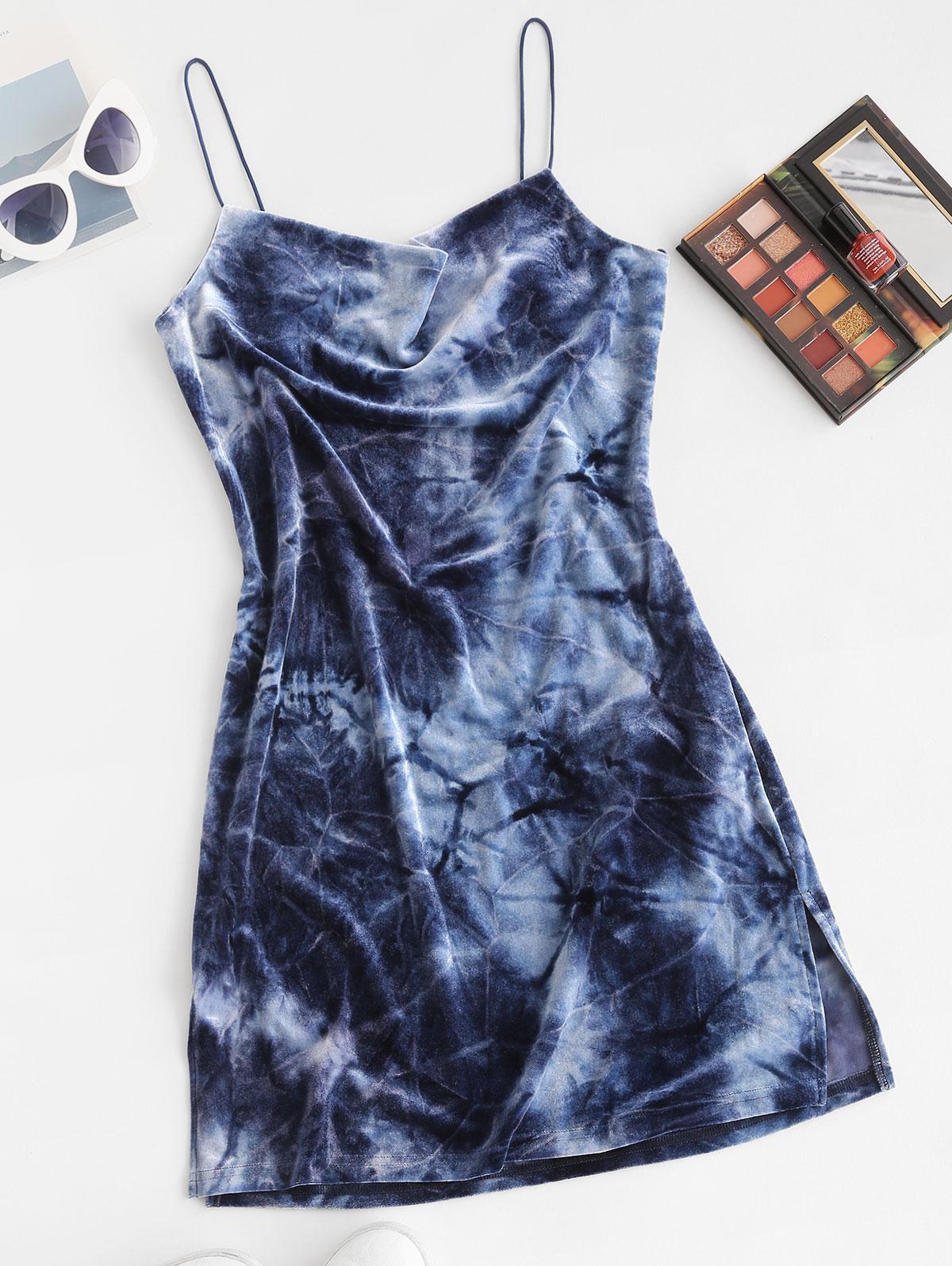 ZAFUL Side Slit Cowl Neck Velvet Mini Dress