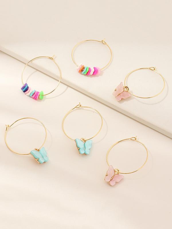 3 Pairs Butterfly Floral Hoop Earrings, ZAFUL  - buy with discount