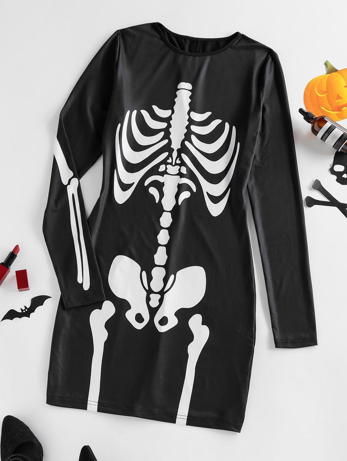 ZAFUL Long Sleeve Halloween Skeleton Bodycon Dress