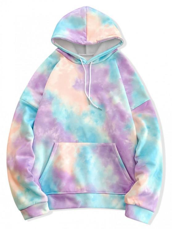 shop Tie Dye Pullover Fleece Drawstring Hoodie - BLUE M