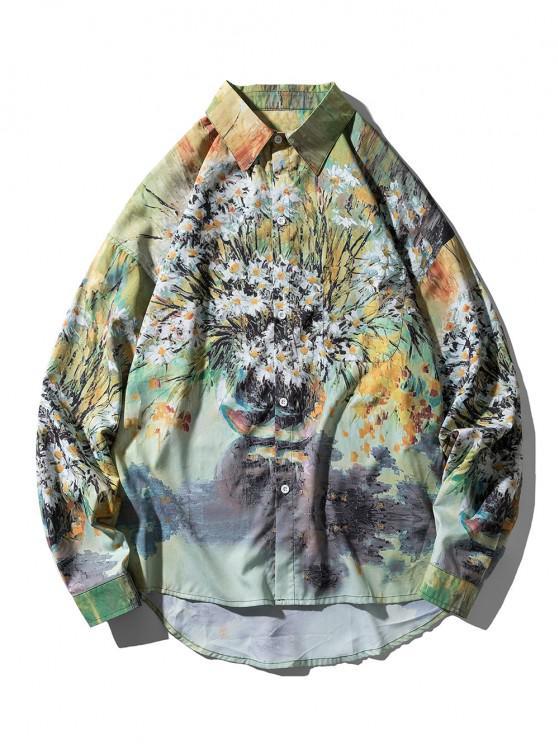 Camisa Asimétrica Patrón Pintura Margarita - Multicolor 2XL
